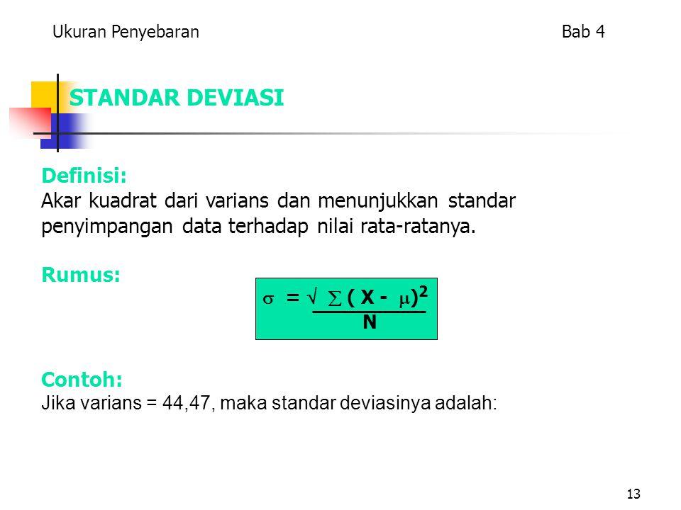 13 STANDAR DEVIASI Definisi: Akar kuadrat dari varians dan menunjukkan standar penyimpangan data terhadap nilai rata-ratanya. Rumus: Ukuran Penyebaran