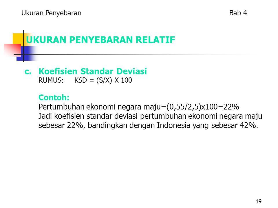 19 UKURAN PENYEBARAN RELATIF c.Koefisien Standar Deviasi RUMUS: KSD = (S/X) X 100 Contoh: Pertumbuhan ekonomi negara maju=(0,55/2,5)x100=22% Jadi koefisien standar deviasi pertumbuhan ekonomi negara maju sebesar 22%, bandingkan dengan Indonesia yang sebesar 42%.