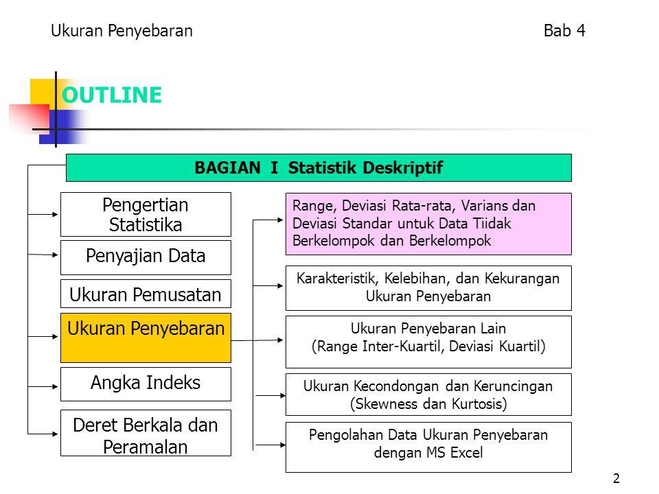 2 OUTLINE Pengertian Statistika Penyajian Data Ukuran Penyebaran Ukuran Pemusatan Angka Indeks Deret Berkala dan Peramalan Range, Deviasi Rata-rata, Varians dan Deviasi Standar untuk Data Tiidak Berkelompok dan Berkelompok Karakteristik, Kelebihan, dan Kekurangan Ukuran Penyebaran Ukuran Penyebaran Lain (Range Inter-Kuartil, Deviasi Kuartil) Ukuran Kecondongan dan Keruncingan (Skewness dan Kurtosis) Pengolahan Data Ukuran Penyebaran dengan MS Excel BAGIAN I Statistik Deskriptif Ukuran Penyebaran Bab 4