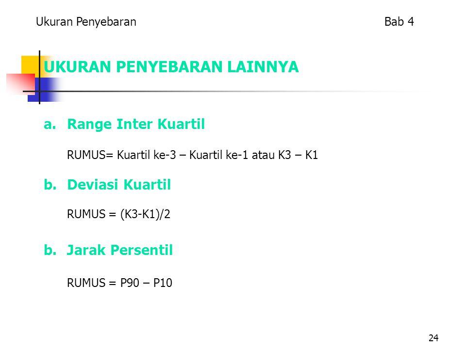 24 UKURAN PENYEBARAN LAINNYA a.Range Inter Kuartil RUMUS= Kuartil ke-3 – Kuartil ke-1 atau K3 – K1 b.Deviasi Kuartil RUMUS = (K3-K1)/2 b.Jarak Persentil RUMUS = P90 – P10 Ukuran Penyebaran Bab 4