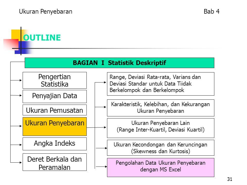 31 OUTLINE Pengertian Statistika Penyajian Data Ukuran Penyebaran Ukuran Pemusatan Angka Indeks Deret Berkala dan Peramalan Range, Deviasi Rata-rata, Varians dan Deviasi Standar untuk Data Tiidak Berkelompok dan Berkelompok Karakteristik, Kelebihan, dan Kekurangan Ukuran Penyebaran Ukuran Penyebaran Lain (Range Inter-Kuartil, Deviasi Kuartil) Ukuran Kecondongan dan Keruncingan (Skewness dan Kurtosis) Pengolahan Data Ukuran Penyebaran dengan MS Excel BAGIAN I Statistik Deskriptif Ukuran Penyebaran Bab 4