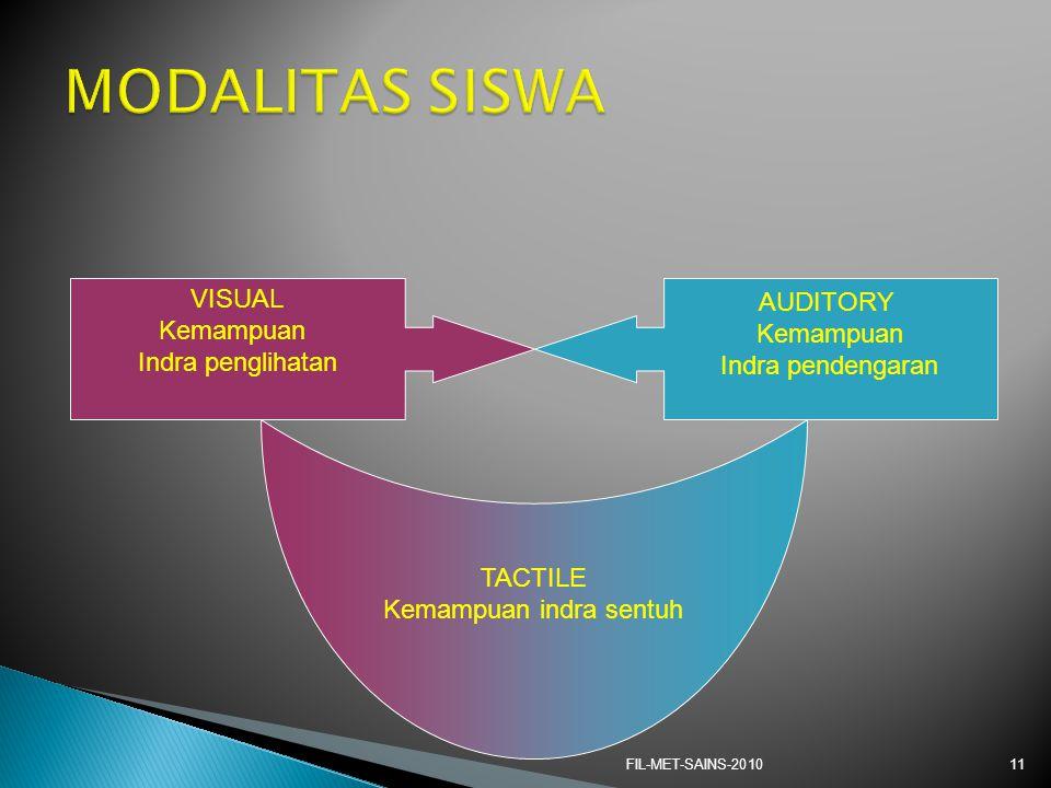 FIL-MET-SAINS-201011 VISUAL Kemampuan Indra penglihatan AUDITORY Kemampuan Indra pendengaran TACTILE Kemampuan indra sentuh