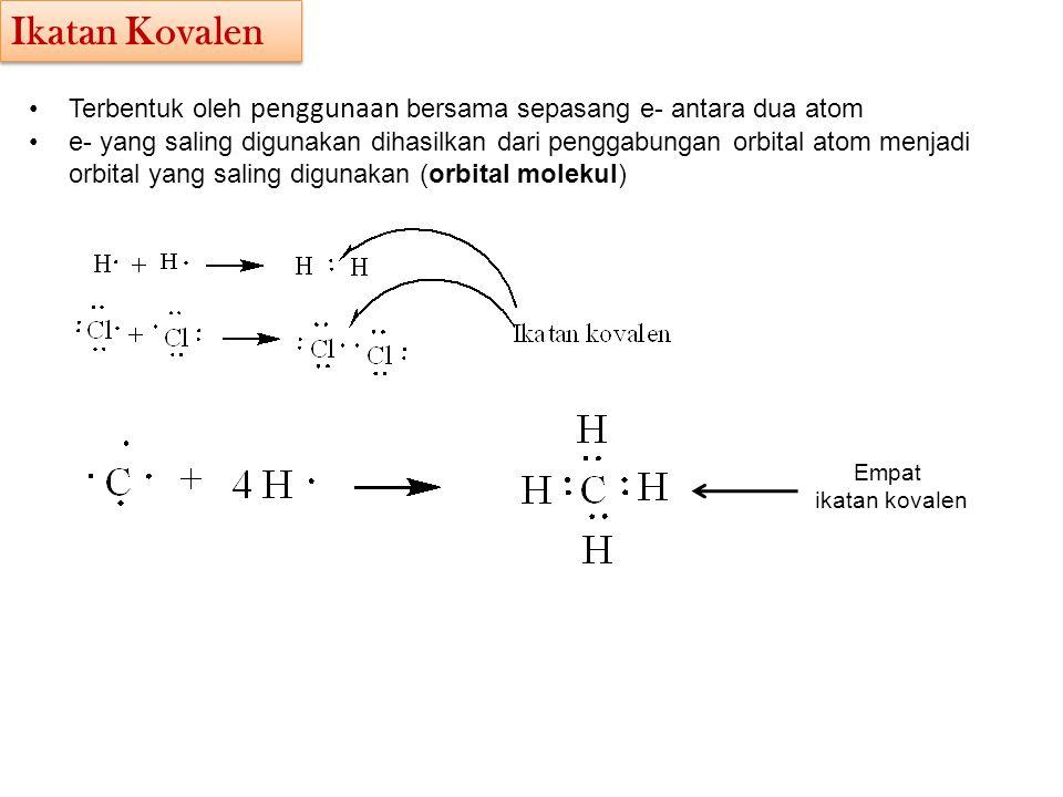 Terbentuk oleh penggunaan bersama sepasang e- antara dua atom e- yang saling digunakan dihasilkan dari penggabungan orbital atom menjadi orbital yang