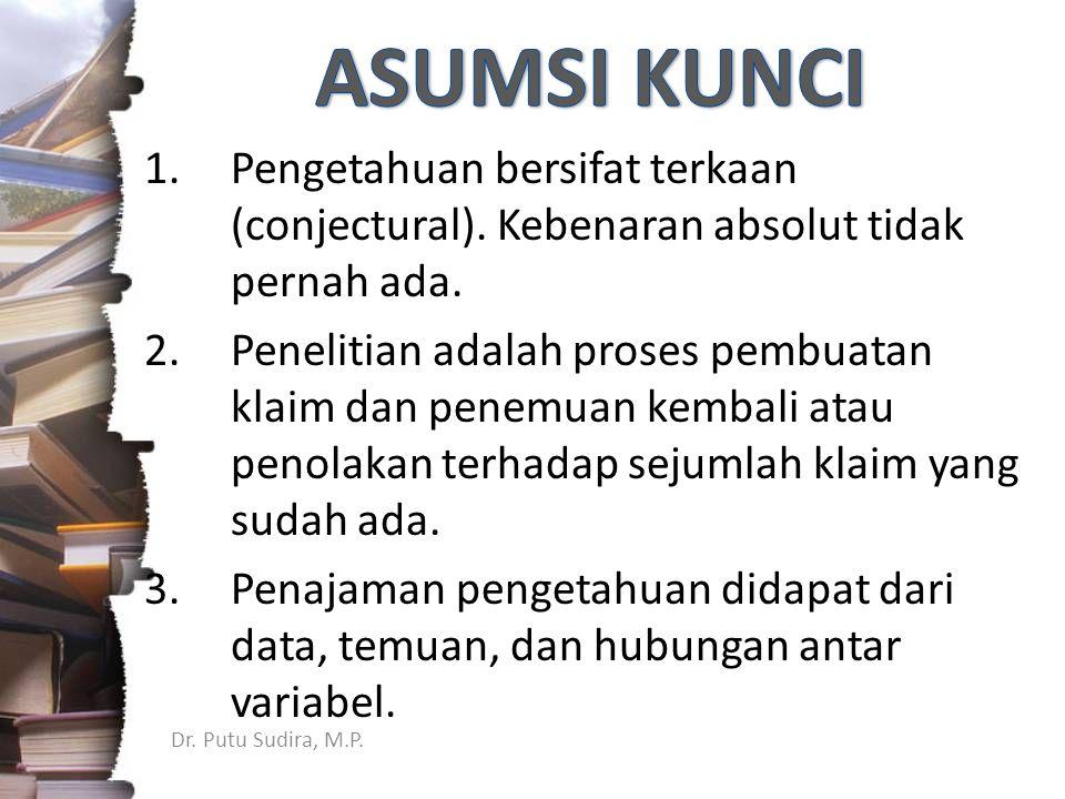 Dr.Putu Sudira, M.P. 1.Pengetahuan bersifat terkaan (conjectural).