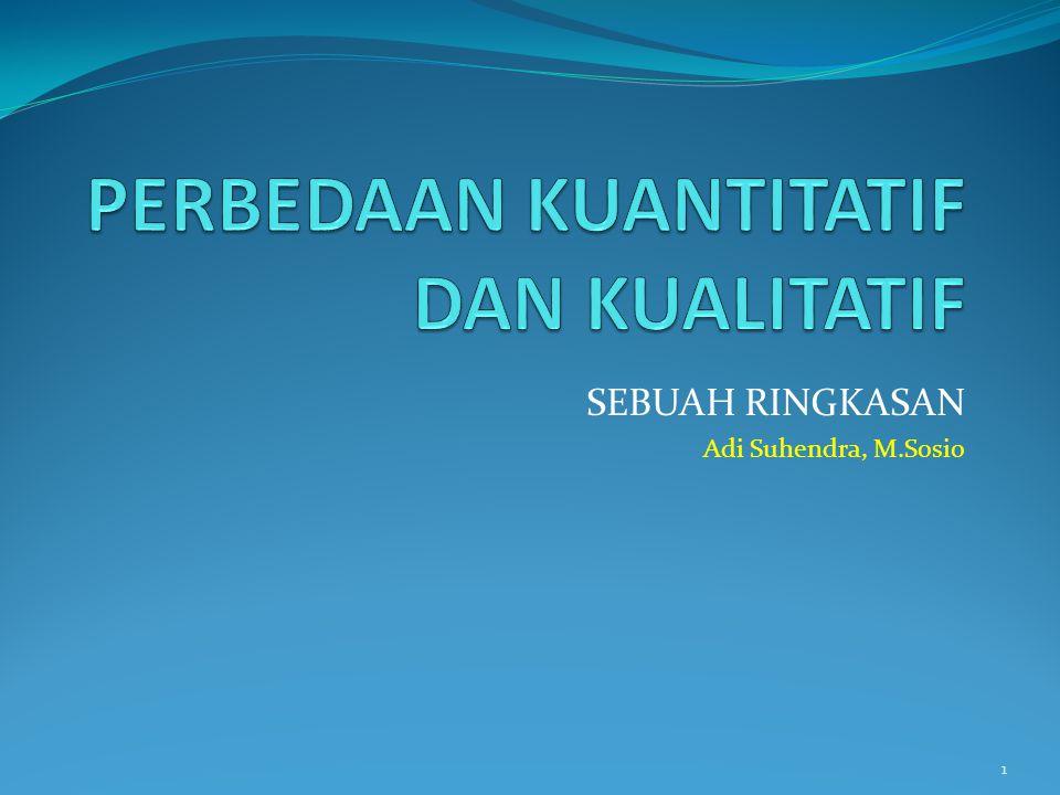 SEBUAH RINGKASAN Adi Suhendra, M.Sosio 1