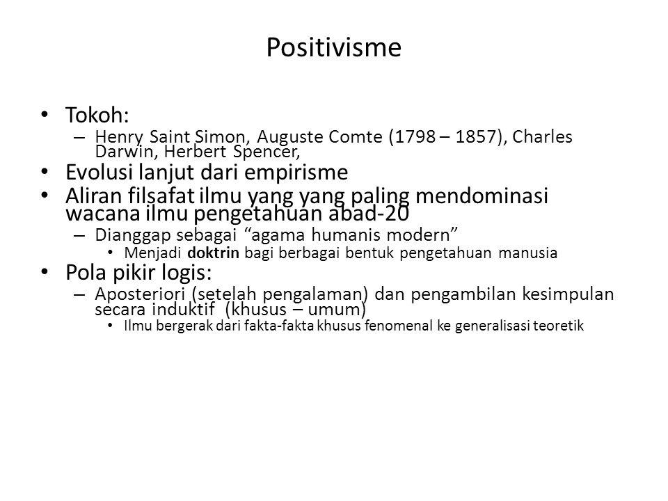 Tokoh: – Henry Saint Simon, Auguste Comte (1798 – 1857), Charles Darwin, Herbert Spencer, Evolusi lanjut dari empirisme Aliran filsafat ilmu yang yang