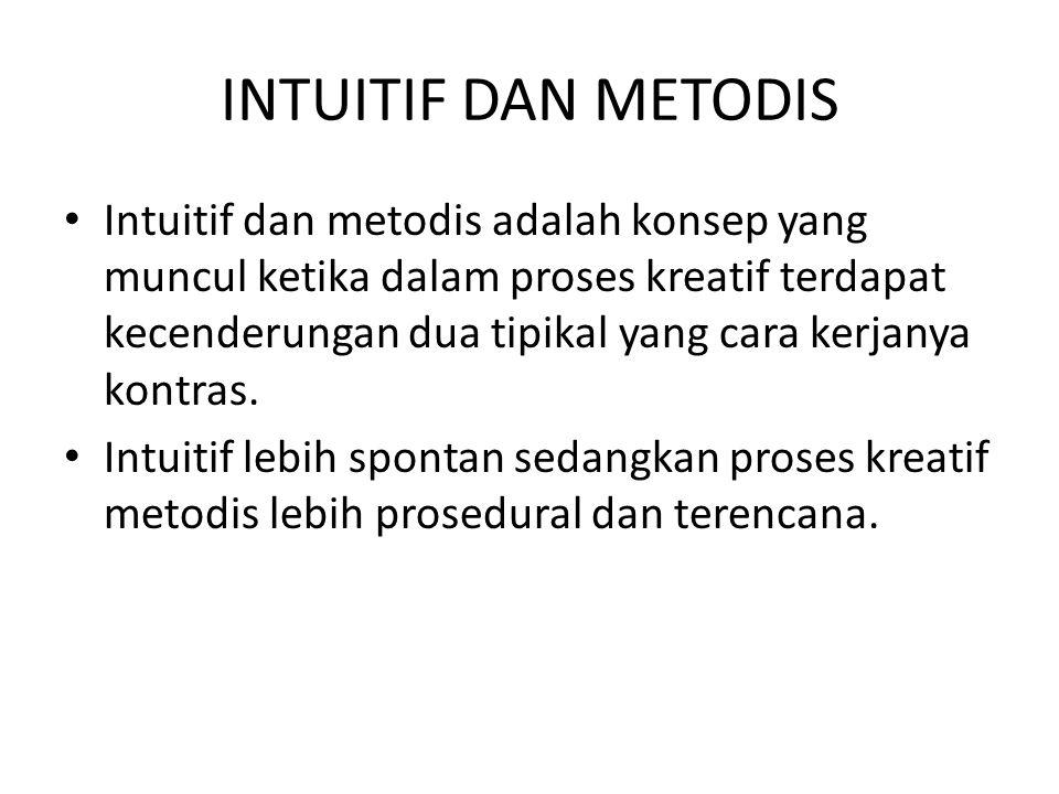 INTUITIF DAN METODIS Intuitif dan metodis adalah konsep yang muncul ketika dalam proses kreatif terdapat kecenderungan dua tipikal yang cara kerjanya