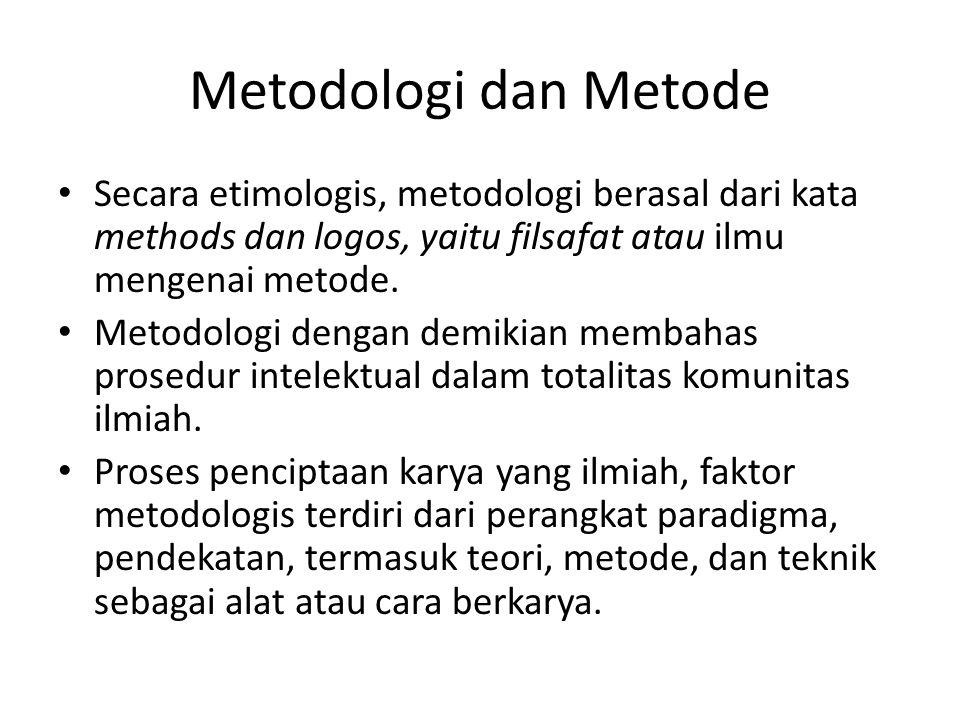 Metodologi dan Metode Secara etimologis, metodologi berasal dari kata methods dan logos, yaitu filsafat atau ilmu mengenai metode. Metodologi dengan d