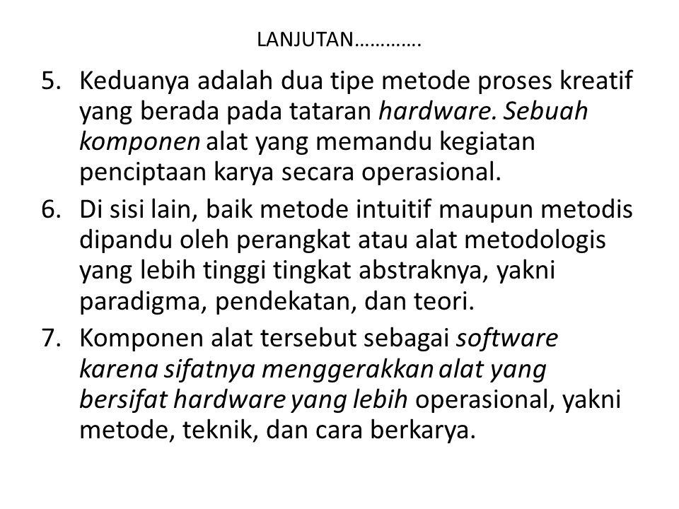 LANJUTAN…………. 5.Keduanya adalah dua tipe metode proses kreatif yang berada pada tataran hardware. Sebuah komponen alat yang memandu kegiatan penciptaa