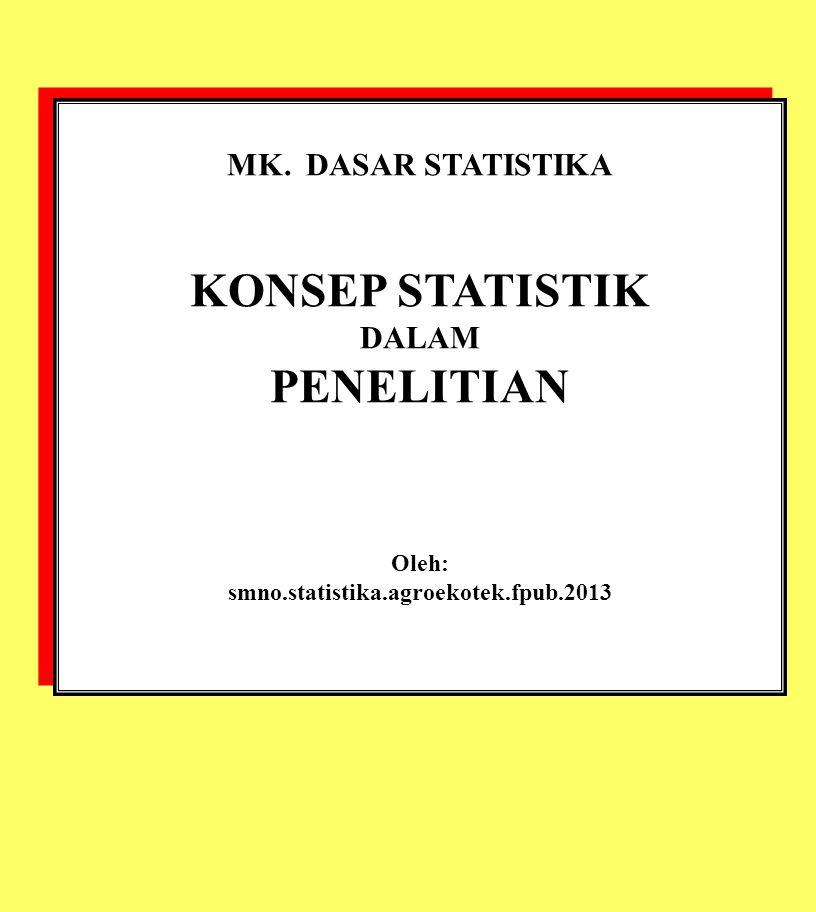 MK. DASAR STATISTIKA KONSEP STATISTIK DALAM PENELITIAN Oleh: smno.statistika.agroekotek.fpub.2013 MK. DASAR STATISTIKA KONSEP STATISTIK DALAM PENELITI