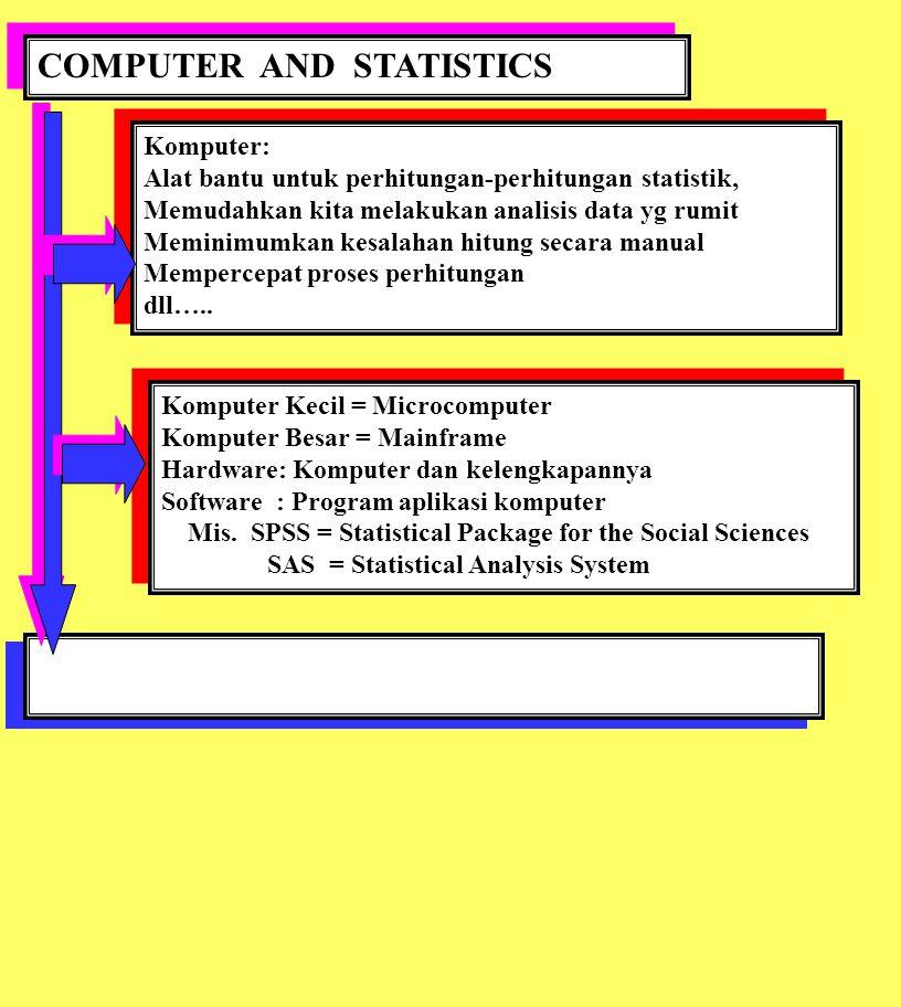 COMPUTER AND STATISTICS Komputer: Alat bantu untuk perhitungan-perhitungan statistik, Memudahkan kita melakukan analisis data yg rumit Meminimumkan ke