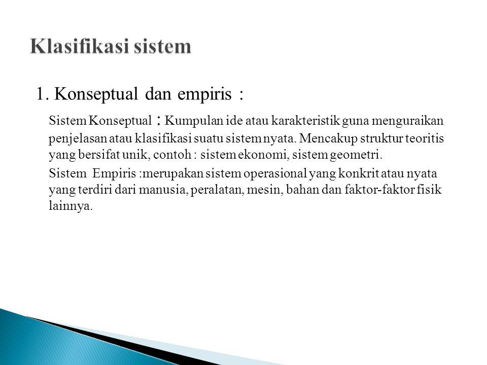 Sistem alamiah : sistem yang telah terbentuk dengan sendirinya Sistem buatan : sistem yang diciptakan dan dikendalikan dengan tujuan tertentu