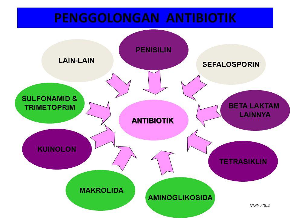 SULFONAMID & TRIMETOPRIM LAIN-LAIN PENGGOLONGAN ANTIBIOTIK NMY 2004 KUINOLON ANTIBIOTIK MAKROLIDA AMINOGLIKOSIDA TETRASIKLIN BETA LAKTAM LAINNYA SEFALOSPORIN PENISILIN