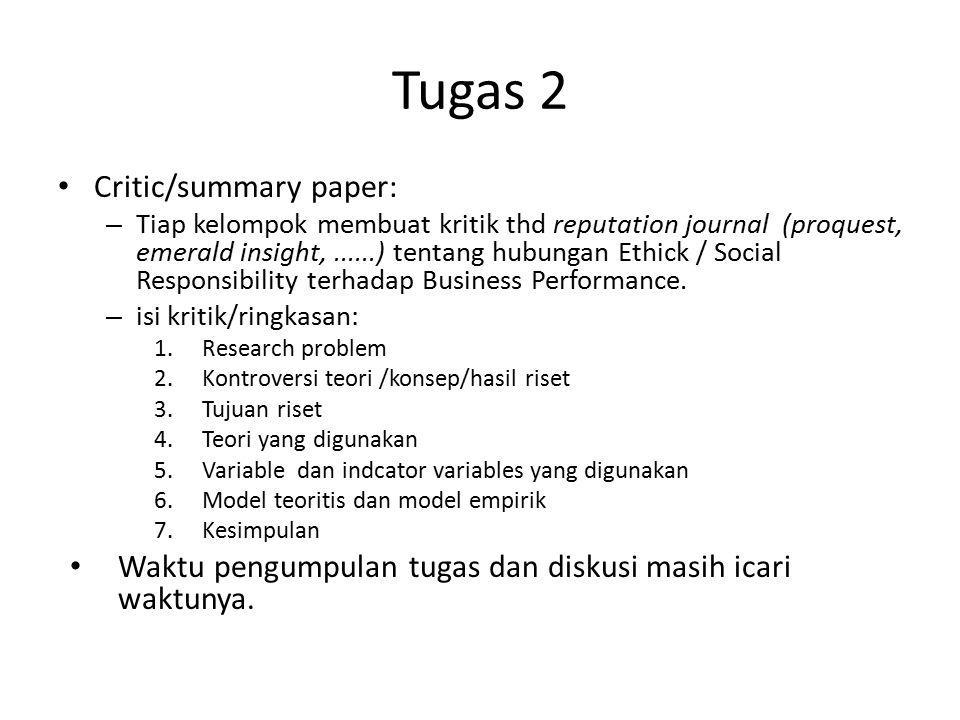 Tugas 2 Critic/summary paper: – Tiap kelompok membuat kritik thd reputation journal (proquest, emerald insight,......) tentang hubungan Ethick / Socia