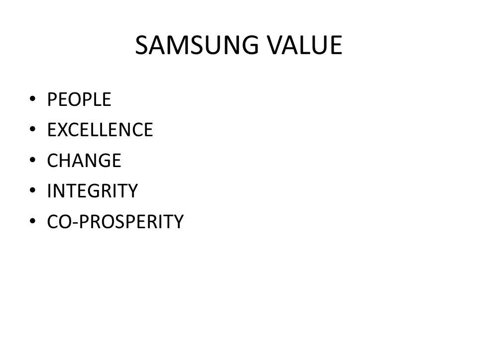 SAMSUNG VALUE PEOPLE EXCELLENCE CHANGE INTEGRITY CO-PROSPERITY