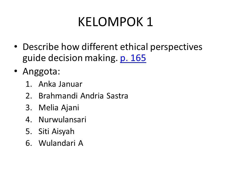 KELOMPOK 1 Describe how different ethical perspectives guide decision making. p. 165p. 165 Anggota: 1.Anka Januar 2.Brahmandi Andria Sastra 3.Melia Aj