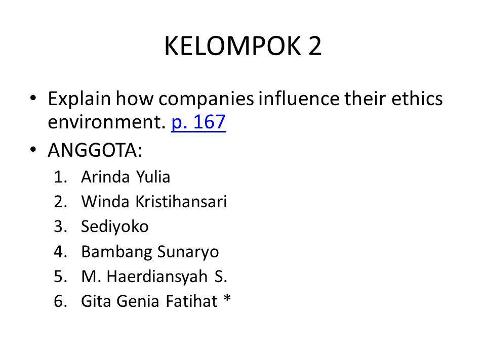 KELOMPOK 2 Explain how companies influence their ethics environment. p. 167p. 167 ANGGOTA: 1.Arinda Yulia 2.Winda Kristihansari 3.Sediyoko 4.Bambang S