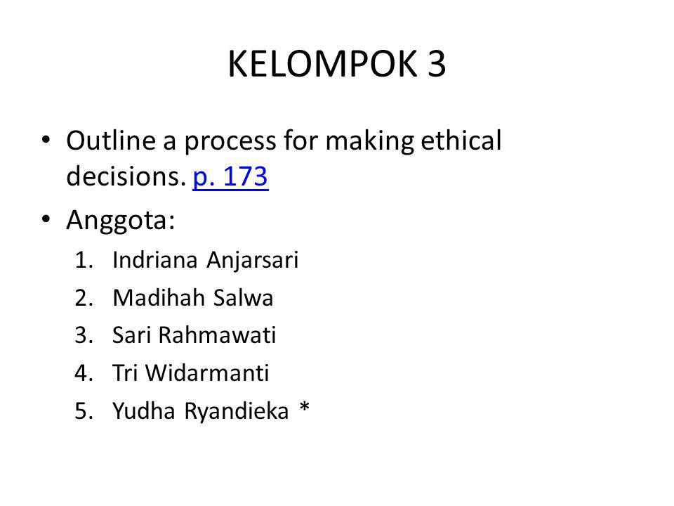 KELOMPOK 3 Outline a process for making ethical decisions. p. 173p. 173 Anggota: 1.Indriana Anjarsari 2.Madihah Salwa 3.Sari Rahmawati 4.Tri Widarmant