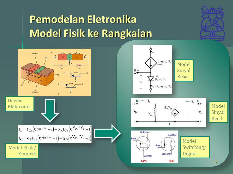 Devais Elektronik Model Fisik/ Empirik Model Sinyal Besar Model Sinyal Kecil Model Switching/ Digital Pemodelan Eletronika Model Fisik ke Rangkaian 12