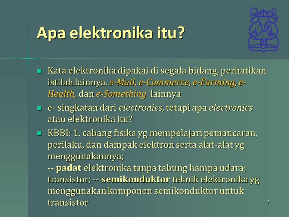 Apa elektronika itu? Kata elektronika dipakai di segala bidang, perhatikan istilah lainnya. e-Mail, e-Commerce, e-Farming, e- Health, dan e-Something