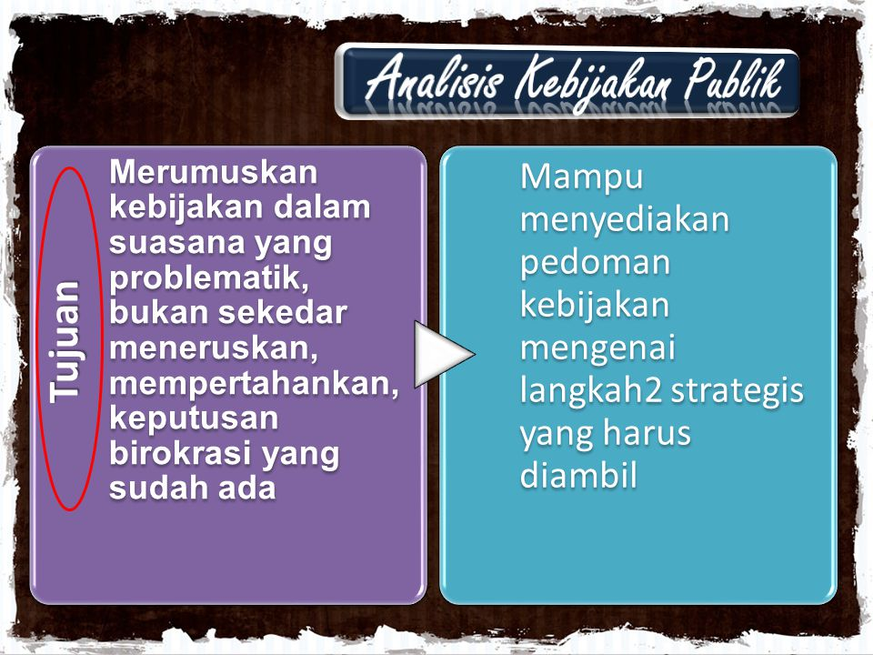 Tujuan Merumuskan kebijakan dalam suasana yang problematik, bukan sekedar meneruskan, mempertahankan, keputusan birokrasi yang sudah ada Mampu menyedi