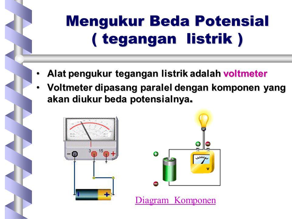 Mengukur Beda Potensial ( tegangan listrik ) Alat pengukur tegangan listrik adalah voltmeterAlat pengukur tegangan listrik adalah voltmeter Voltmeter dipasang paralel dengan komponen yang akan diukur beda potensialnya.Voltmeter dipasang paralel dengan komponen yang akan diukur beda potensialnya.