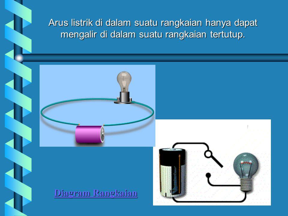 Arus listrik di dalam suatu rangkaian hanya dapat mengalir di dalam suatu rangkaian tertutup.