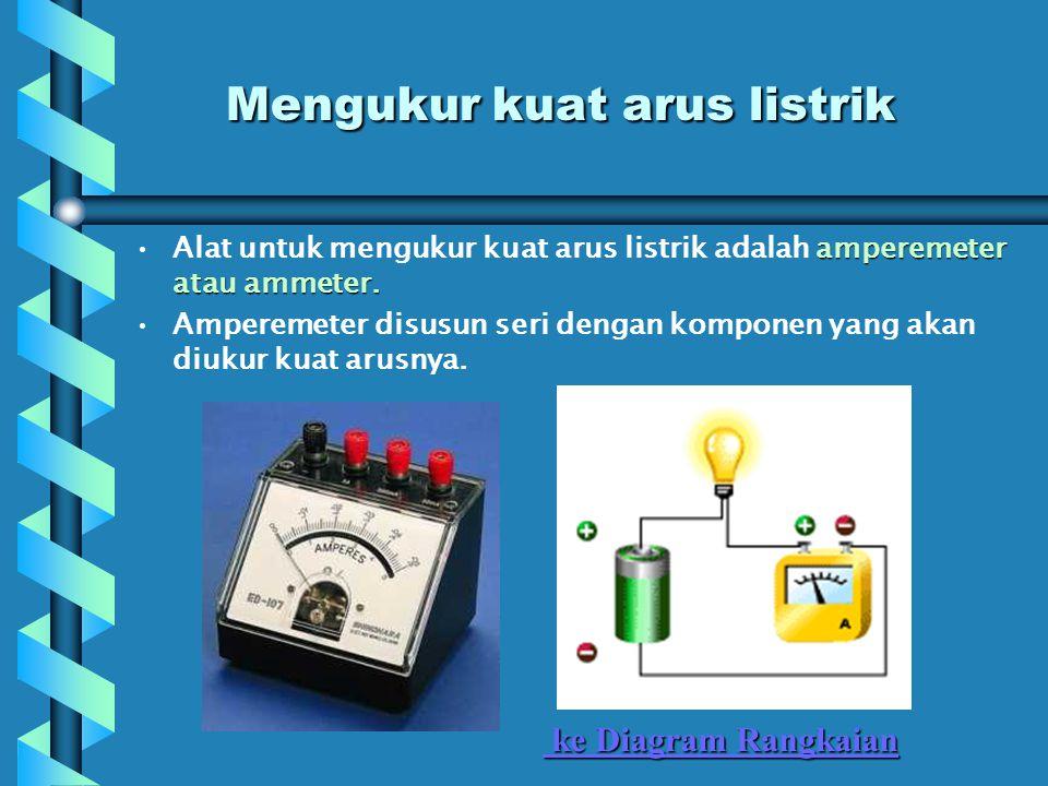 Mengukur kuat arus listrik amperemeter atau ammeter.Alat untuk mengukur kuat arus listrik adalah amperemeter atau ammeter.