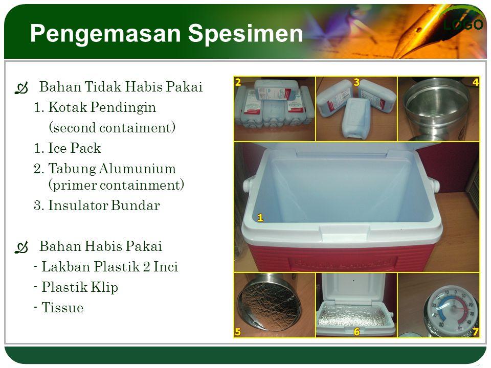 LOGO Pengemasan Spesimen  Bahan Tidak Habis Pakai 1.Kotak Pendingin (second contaiment) 1.Ice Pack 2.Tabung Alumunium (primer containment) 3.Insulato