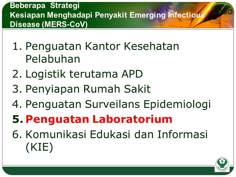 LOGO Beberapa Strategi Kesiapan Menghadapi Penyakit Emerging Infectious Disease (MERS-CoV) 1.Penguatan Kantor Kesehatan Pelabuhan 2.Logistik terutama