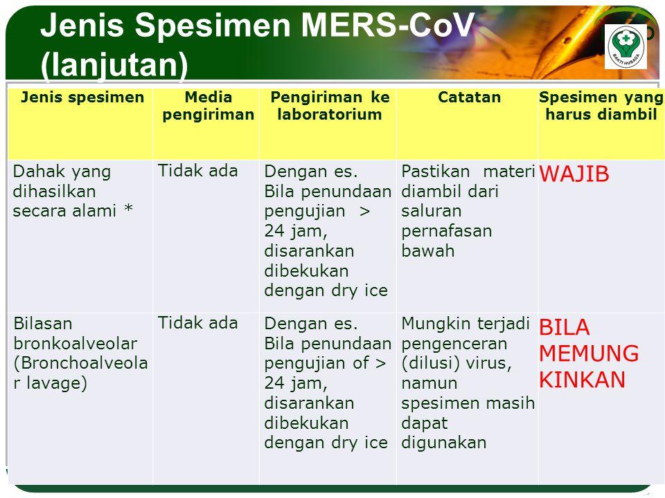 LOGO Jenis Spesimen MERS-CoV (lanjutan) Jenis spesimen Media pengiriman Pengiriman ke laboratorium CatatanSpesimen yang harus diambil Dahak yang dihas