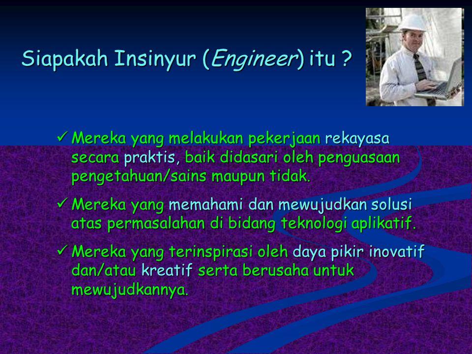 Siapakah Insinyur (Engineer) itu ? Mereka yang melakukan pekerjaan rekayasa secara praktis, baik didasari oleh penguasaan pengetahuan/sains maupun tid