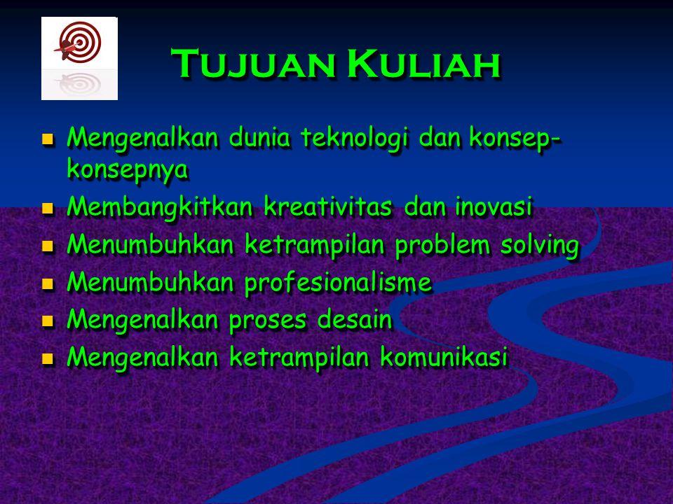 Tujuan Kuliah Mengenalkan dunia teknologi dan konsep- konsepnya Mengenalkan dunia teknologi dan konsep- konsepnya Membangkitkan kreativitas dan inovas