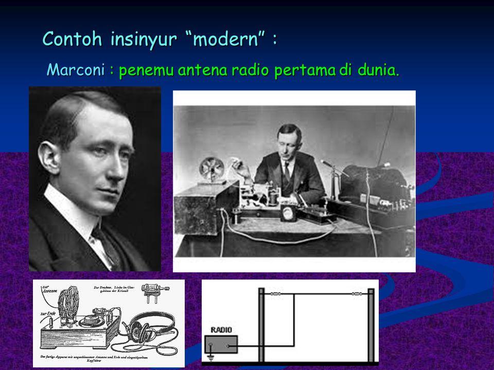 """Contoh insinyur """"modern"""" : Marconi : penemu antena radio pertama di dunia."""