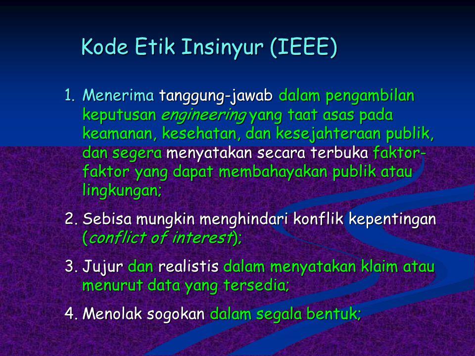 Kode Etik Insinyur (IEEE) 1.Menerima tanggung-jawab dalam pengambilan keputusan engineering yang taat asas pada keamanan, kesehatan, dan kesejahteraan