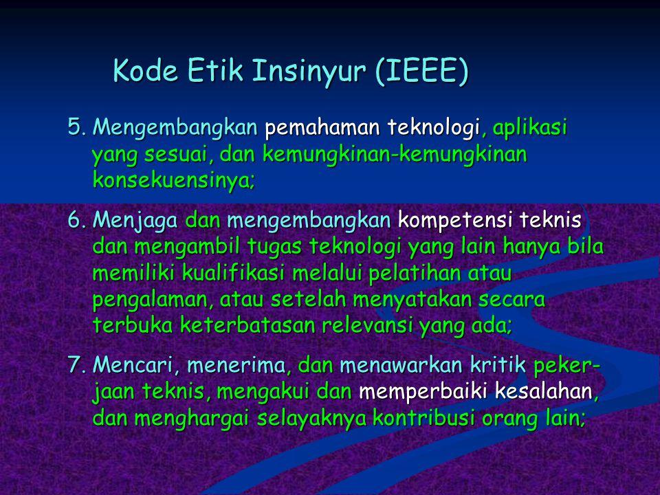 Kode Etik Insinyur (IEEE) 5.Mengembangkan pemahaman teknologi, aplikasi yang sesuai, dan kemungkinan-kemungkinan konsekuensinya; 6.Menjaga dan mengemb