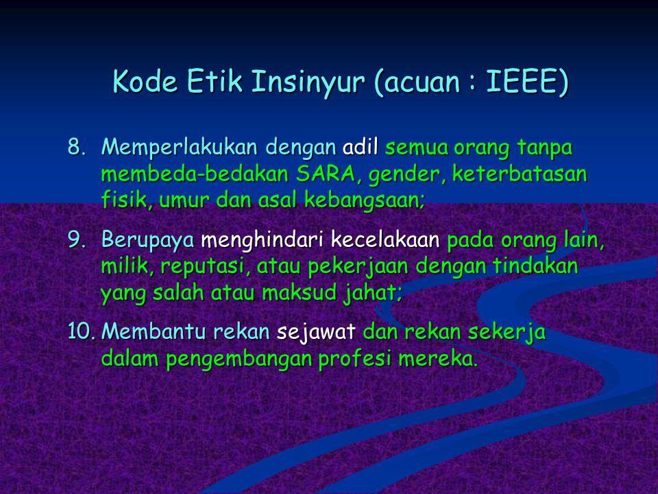 Kode Etik Insinyur (acuan : IEEE) 8.Memperlakukan dengan adil semua orang tanpa membeda-bedakan SARA, gender, keterbatasan fisik, umur dan asal kebang