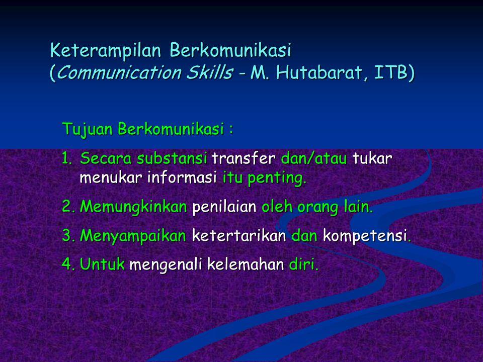Keterampilan Berkomunikasi (Communication Skills - M. Hutabarat, ITB) Tujuan Berkomunikasi : 1.Secara substansi transfer dan/atau tukar menukar inform
