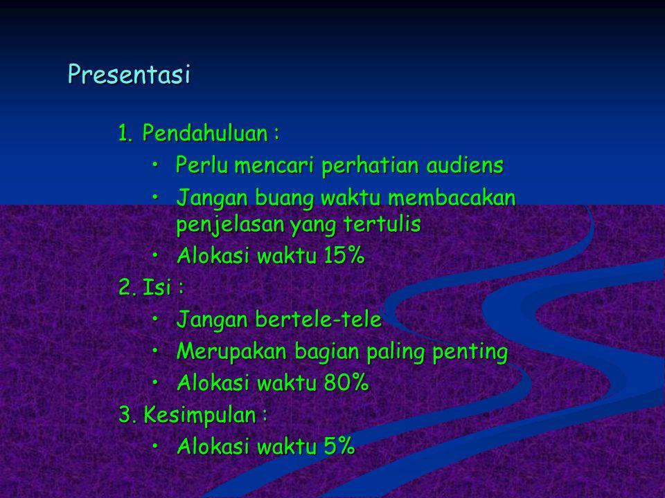Presentasi 1.Pendahuluan : Perlu mencari perhatian audiensPerlu mencari perhatian audiens Jangan buang waktu membacakan penjelasan yang tertulisJangan