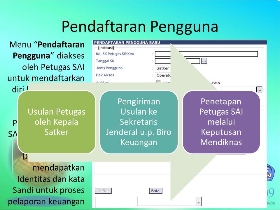 """Pendaftaran Pengguna Menu """"Pendaftaran Pengguna"""" diakses oleh Petugas SAI untuk mendaftarkan diri berdasarkan SK Mendiknas mengenai Penetapan Petugas"""