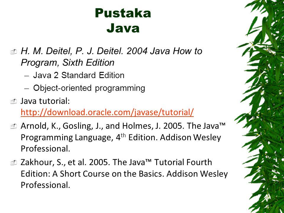 Pustaka Java  H. M. Deitel, P. J. Deitel. 2004 Java How to Program, Sixth Edition –Java 2 Standard Edition –Object-oriented programming  Java tutori
