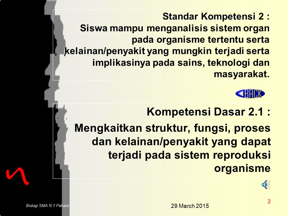 29 March 2015 1 Biologi SMA N 1 Pekalongan 2006 SK DAN KD SK DAN KD ALAT KEL. PRIA ALAT KEL. PRIA ALAT KEL. WANITA ALAT KEL. WANITA FERTILISASI MENSTR