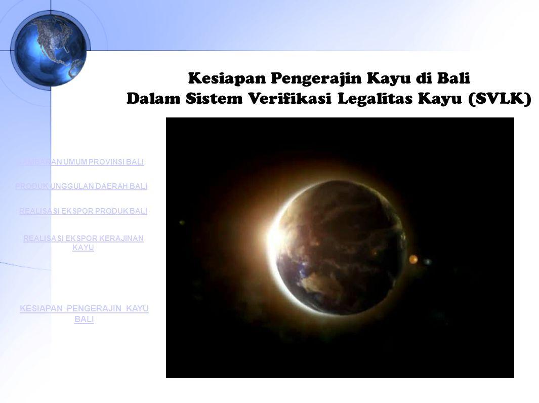 Kesiapan Pengerajin Kayu di Bali Dalam Sistem Verifikasi Legalitas Kayu (SVLK) GAMBARAN UMUM PROVINSI BALI PRODUK UNGGULAN DAERAH BALI REALISASI EKSPO