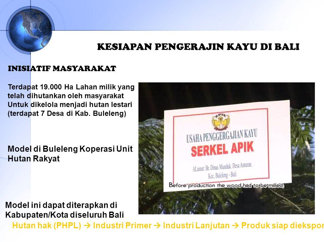INISIATIF MASYARAKAT Model ini dapat diterapkan di Kabupaten/Kota diseluruh Bali KESIAPAN PENGERAJIN KAYU DI BALI Hutan hak (PHPL)  Industri Primer 