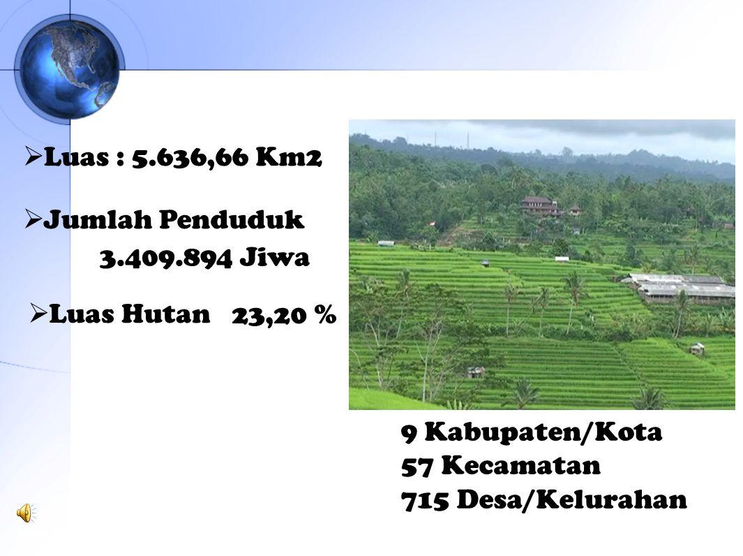  Luas : 5.636,66 Km2  Jumlah Penduduk 3.409.894 Jiwa  Luas Hutan23,20 % DATA BADAN PUSAT STASISTIK PROVINSI BALI TAHUN 2009 9 Kabupaten/Kota 57 Kec