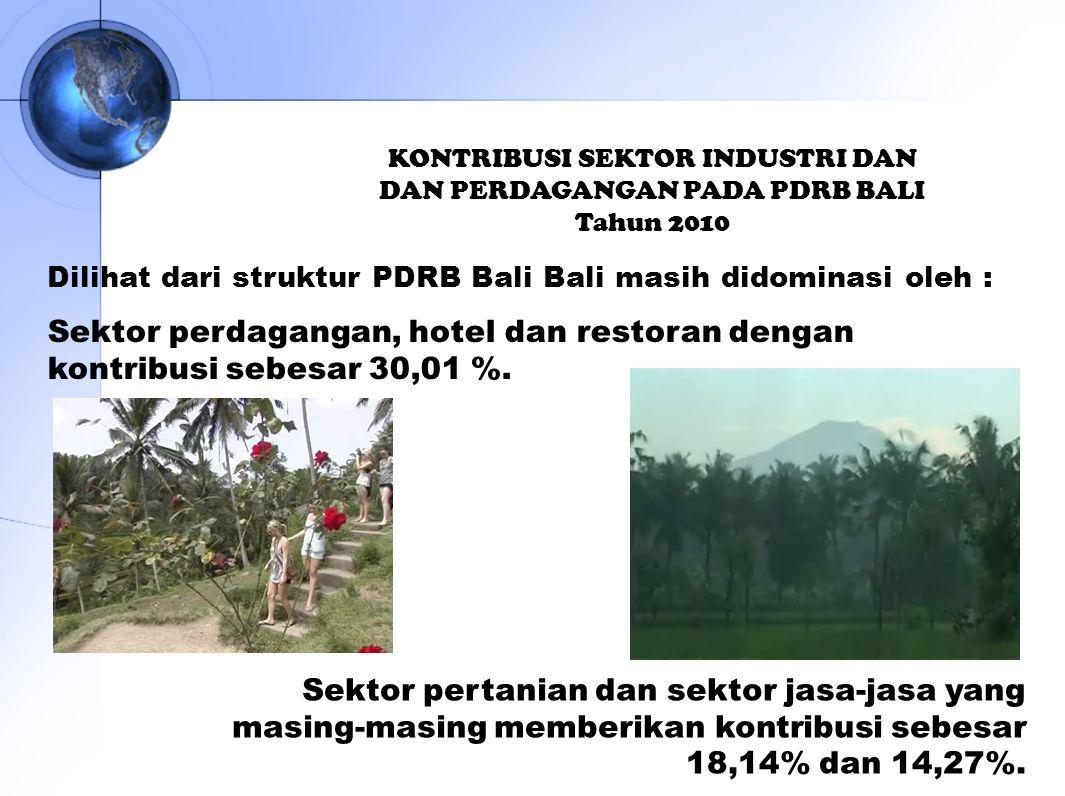 KONTRIBUSI SEKTOR INDUSTRI DAN DAN PERDAGANGAN PADA PDRB BALI Tahun 2010 Dilihat dari struktur PDRB Bali Bali masih didominasi oleh : Sektor pertanian