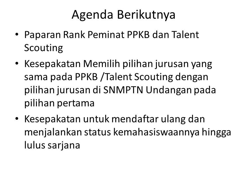 Agenda Berikutnya Paparan Rank Peminat PPKB dan Talent Scouting Kesepakatan Memilih pilihan jurusan yang sama pada PPKB /Talent Scouting dengan piliha
