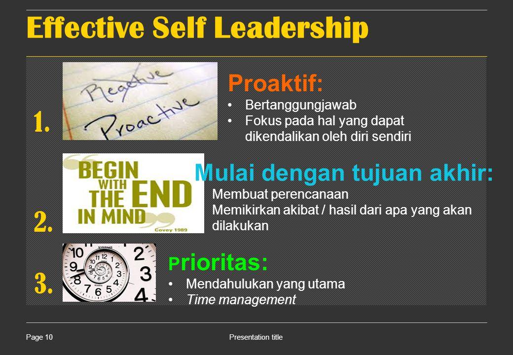Effective Self Leadership Presentation titlePage 10 1.
