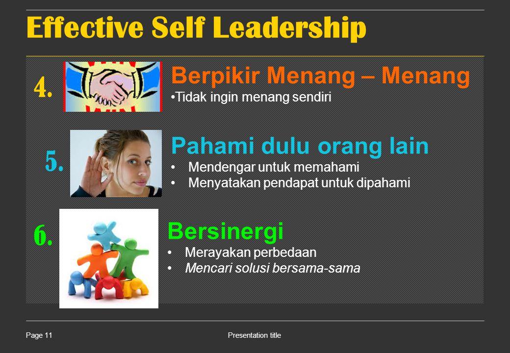 Effective Self Leadership Presentation titlePage 11 4.