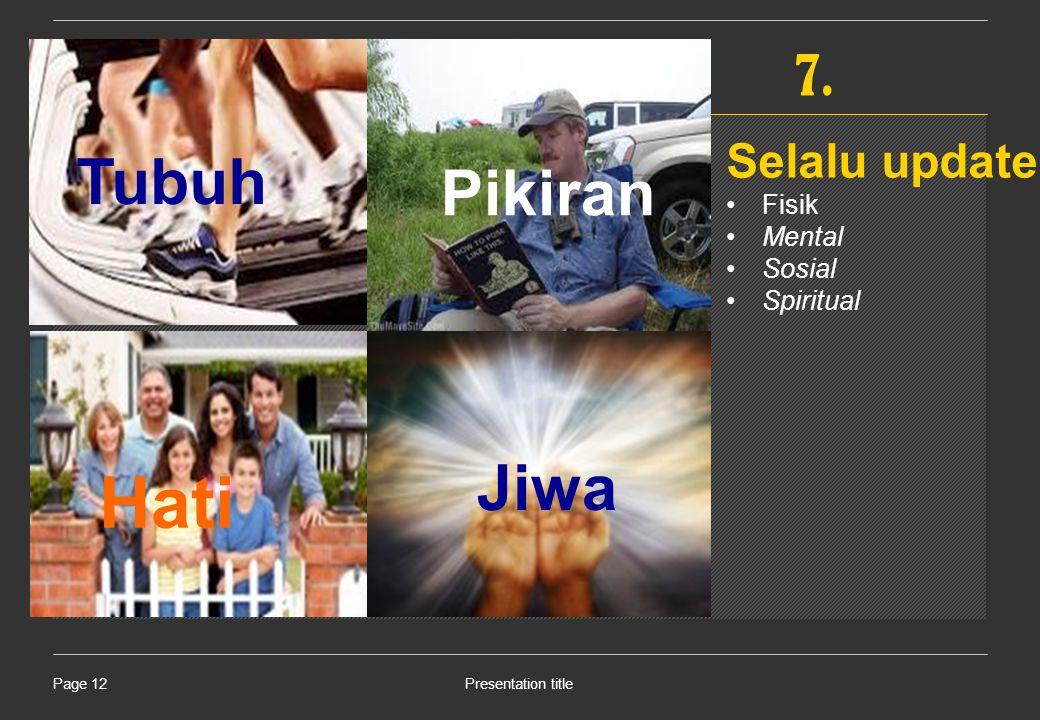 Presentation titlePage 12 Tubuh Pikiran Hati Jiwa 7. Selalu update Fisik Mental Sosial Spiritual